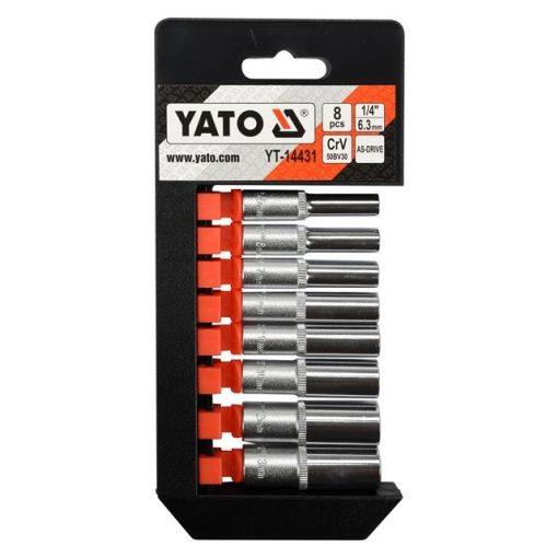"""Yato Dugókulcs készlet - 8 részes - 1/4"""" - 5,5-13 mm - hosszú"""
